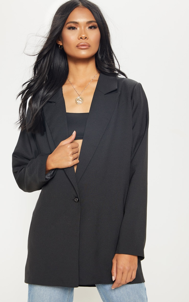 Black Super Oversized Woven Blazer 7