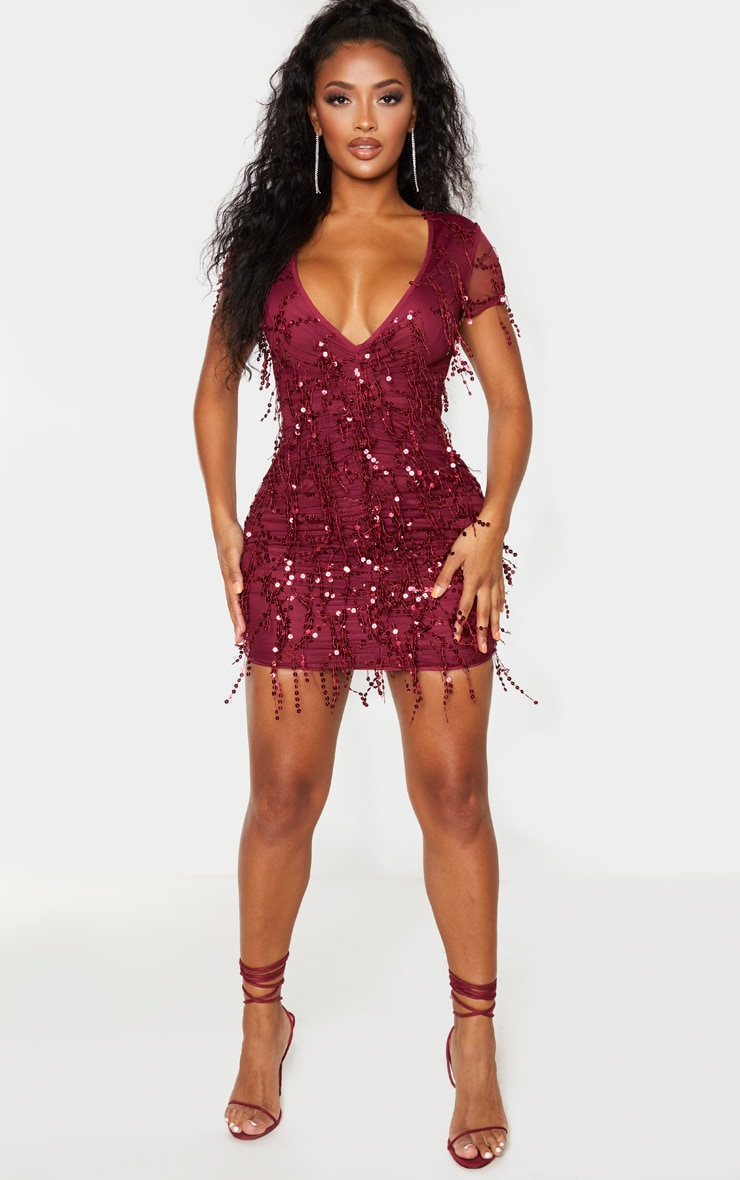 Shape Burgundy Sequin Ruched Bodycon Dress 4