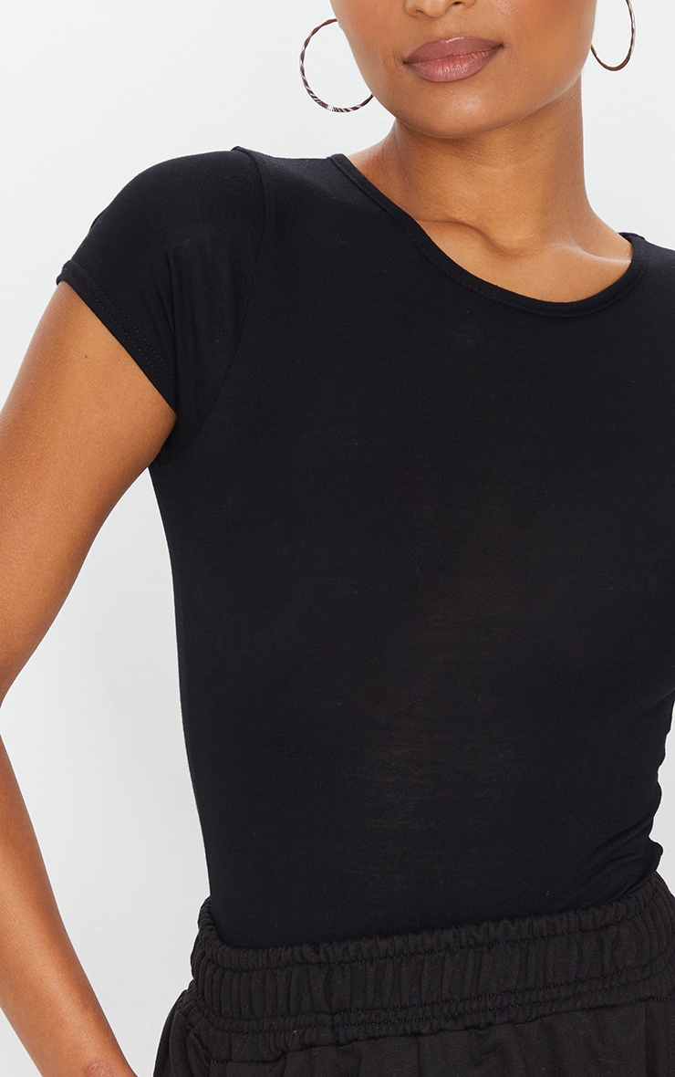 Basic Black Jersey Fitted Short Sleeve Bodysuit 4