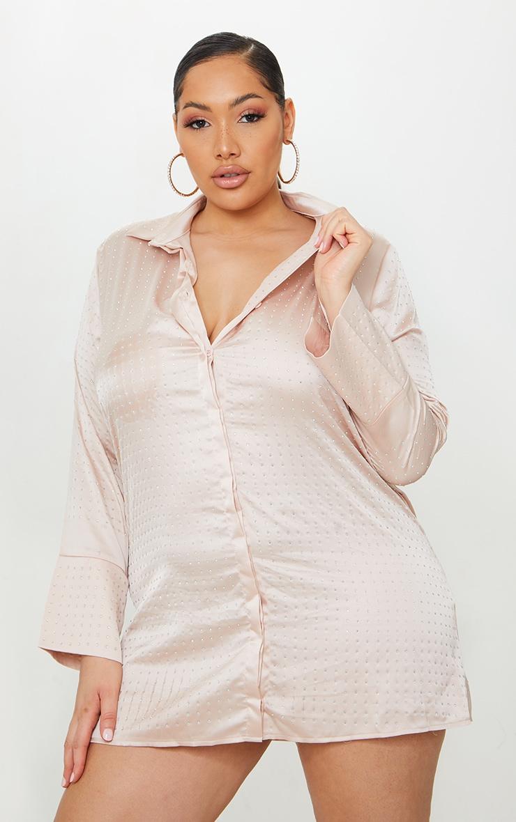 Plus Pink Sparkle Oversized Shirt Dress 6