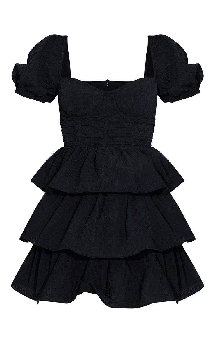 Black Crinkle Cup Detail Tiered Skirt Skater Dress 5