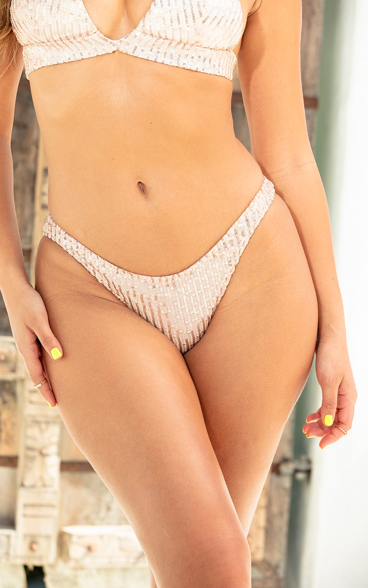 Rose Gold Knit Sequin Bikini Bottom