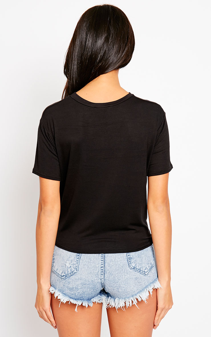 Basic Black Knot Front T-Shirt 2