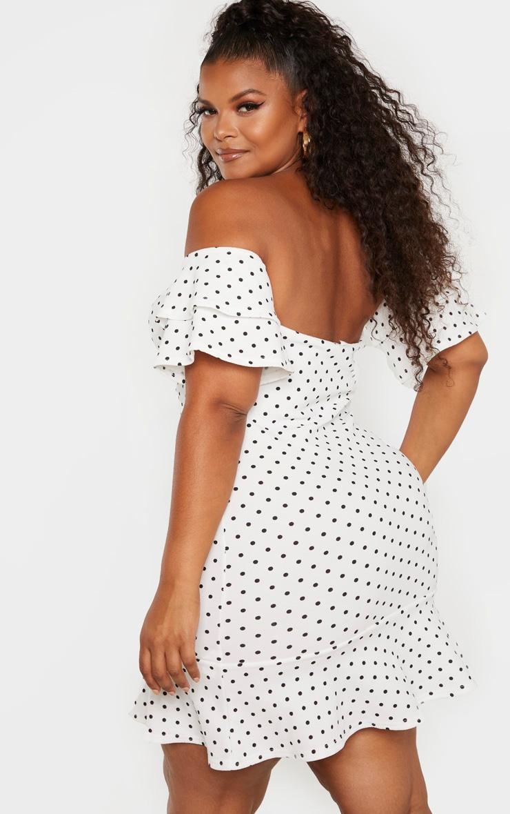 Plus White Polka Dot Bardot Knot Front Bodycon Dress 2
