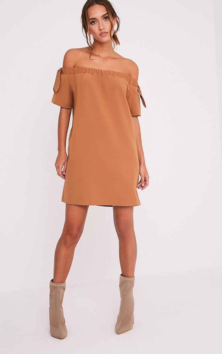 Cayla Camel Crepe Bardot Swing Dress 6
