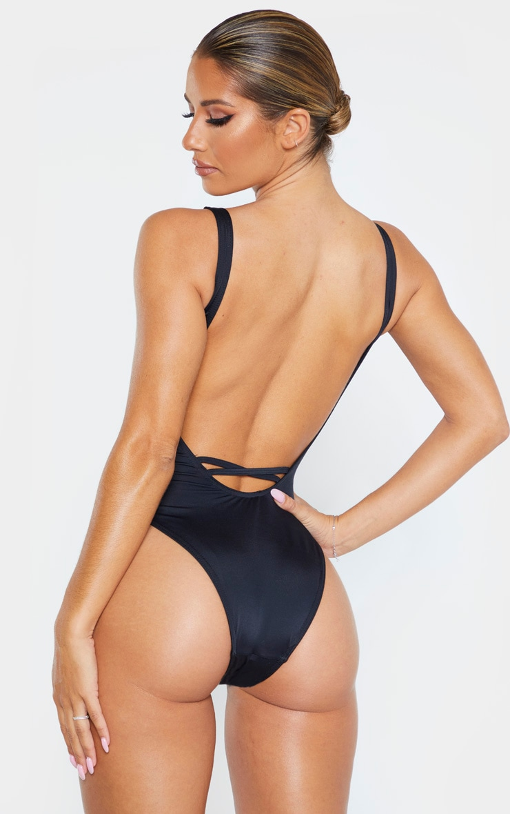 Black Recycled Scoop Back Swimsuit 2