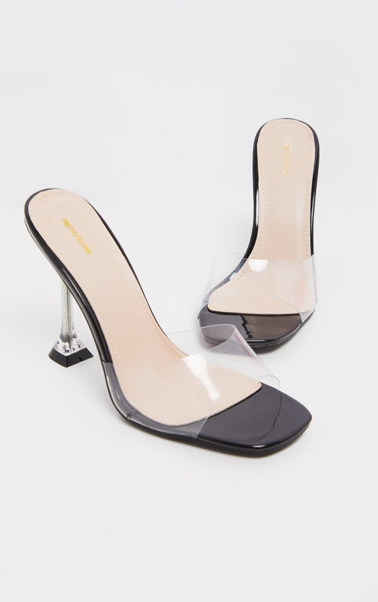Black Clear Heel Mule Sandals 1