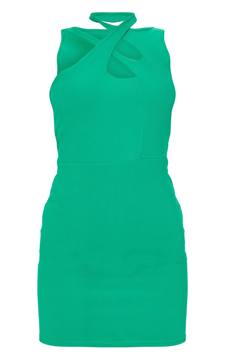 Green  Ribbed Crossed Strap Detail Bodycon Dress 5