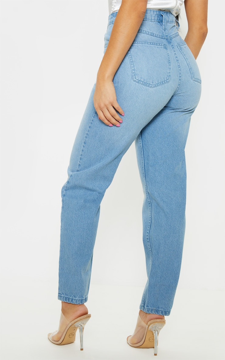 Petite Light Wash Straight Leg Jeans 4