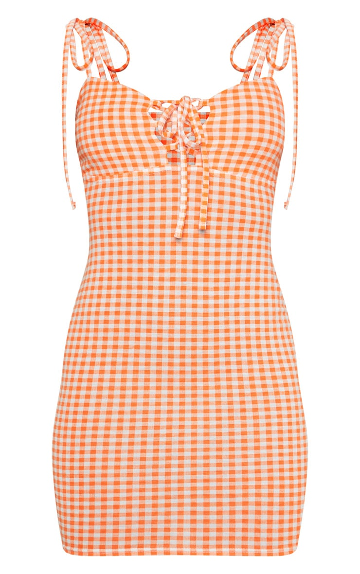 Orange Gingham Tie Shoulder Bodycon Dress 3