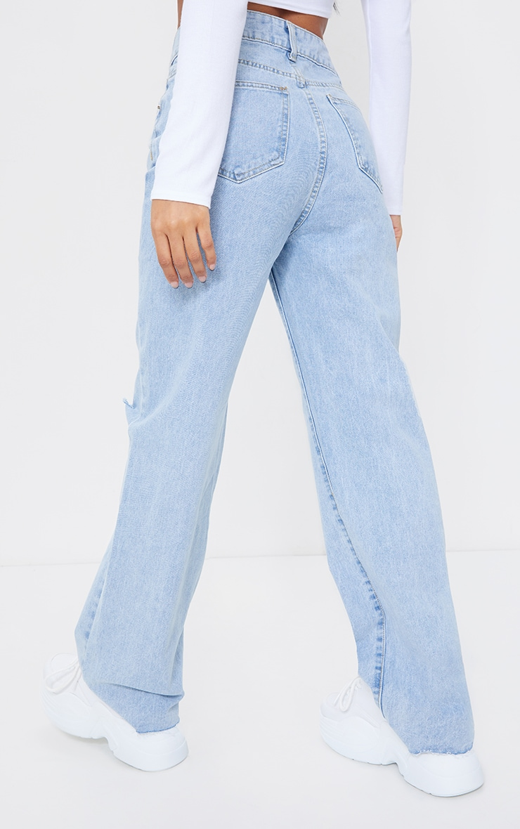 Light Blue Wash Knee Rip Wide Leg Jean 3