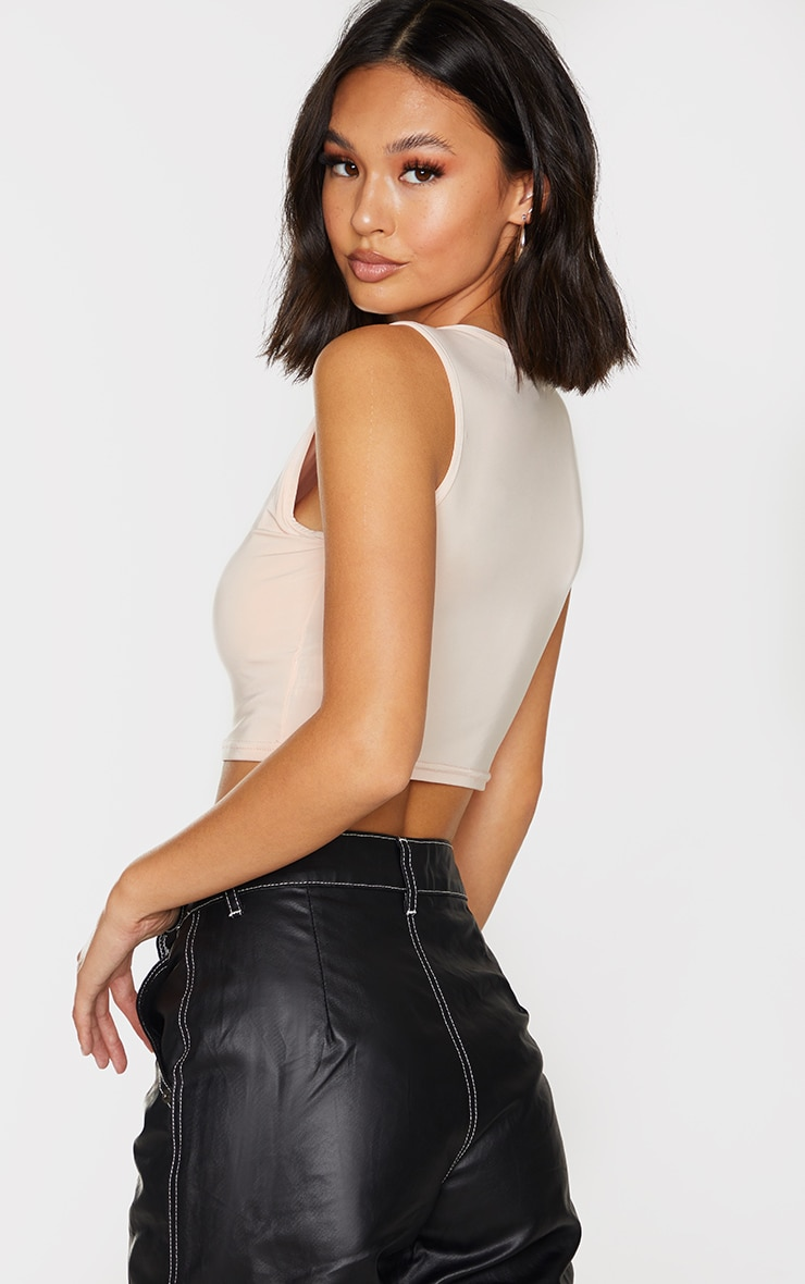 PRETTYLITTLETHING Nude Slinky Circle Logo Racer Crop Top 2