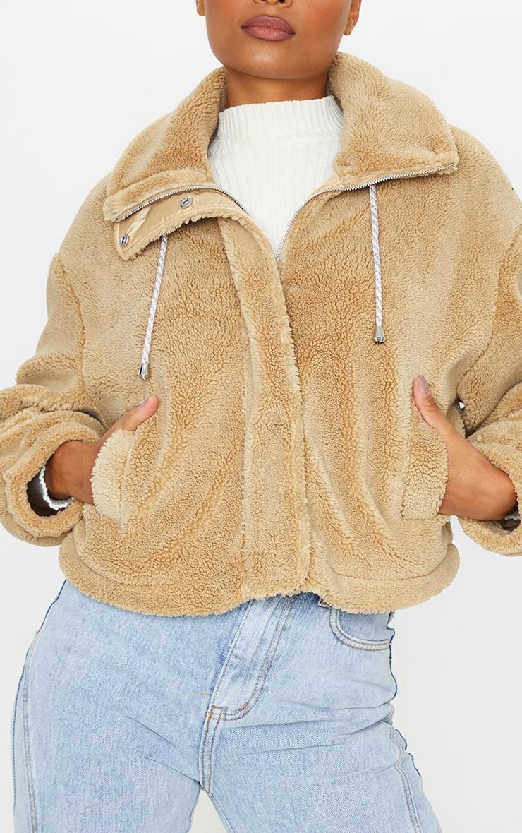 Camel Short Teddy Zip Up Jacket 4