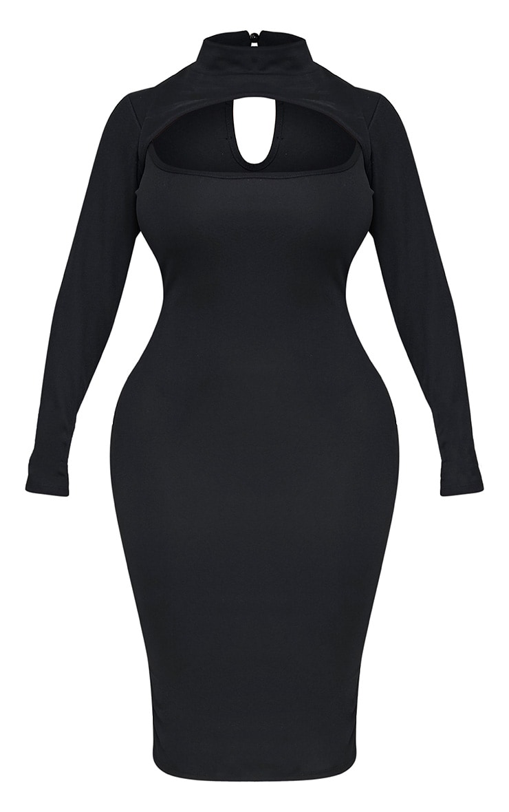 Shape Kayleene Black Open Front Crepe Midi Dress 3