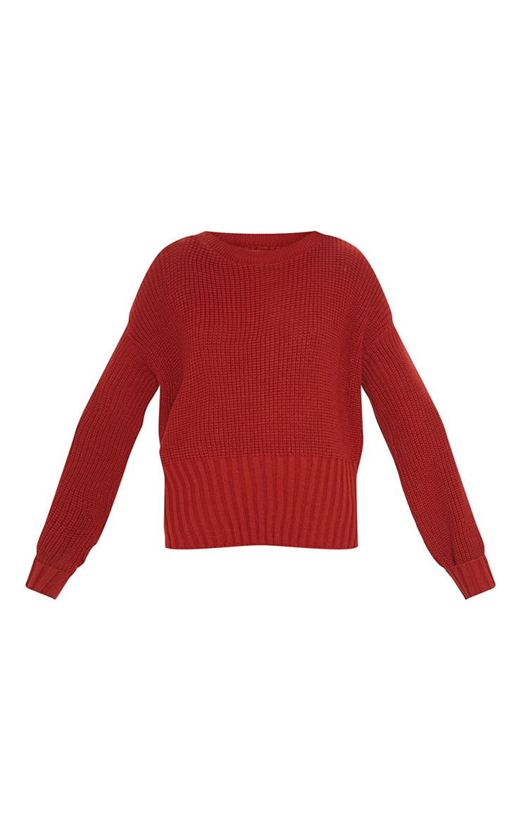 Rust Ribbed Hem Knitted Sweater  3