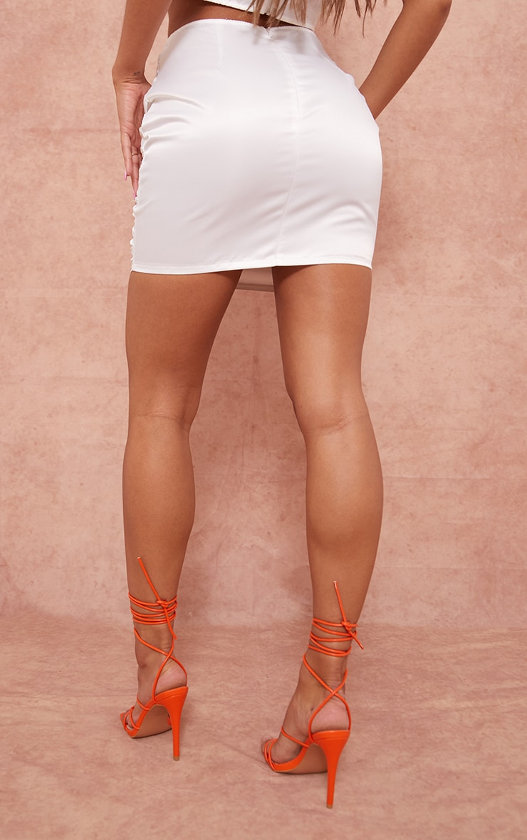 White Structured Satin Ruched Front Mini Skirt 3