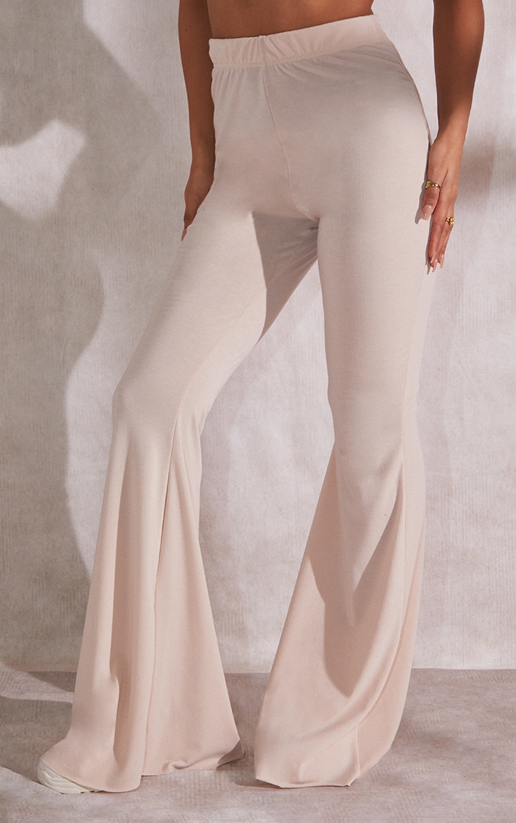 RECYCLED Beige Jersey Raw Edge Flare Pants 2