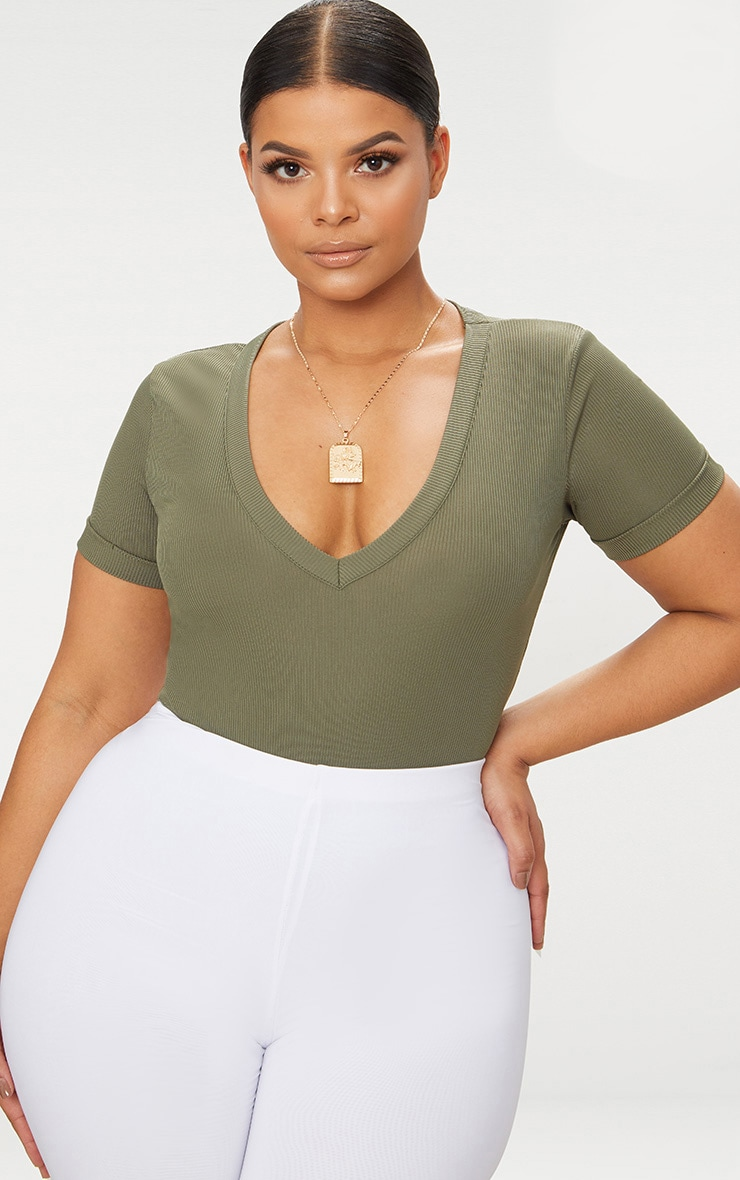 Plus Khaki Ribbed Plunge Short Sleeve Bodysuit 1