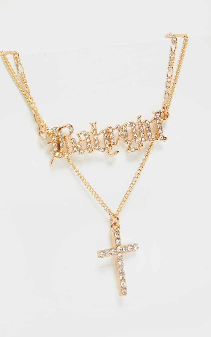 Gold Diamante Baby Girl And Cross Layering Necklace 4