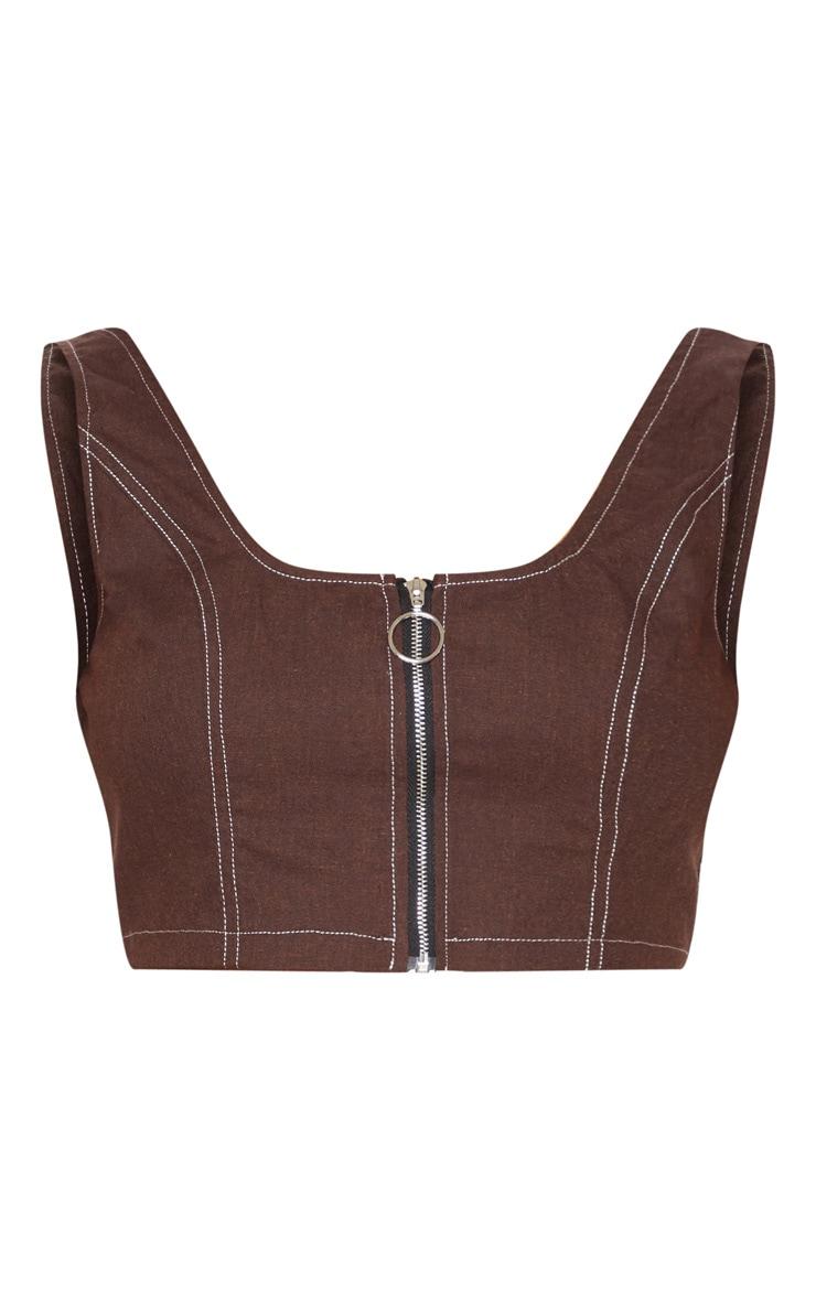 Crop top marron chocolat à zip et coutures contrastantes 3