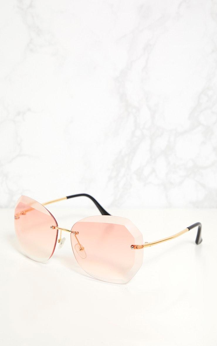 Pink Lensed Frameless Sunglasses 3
