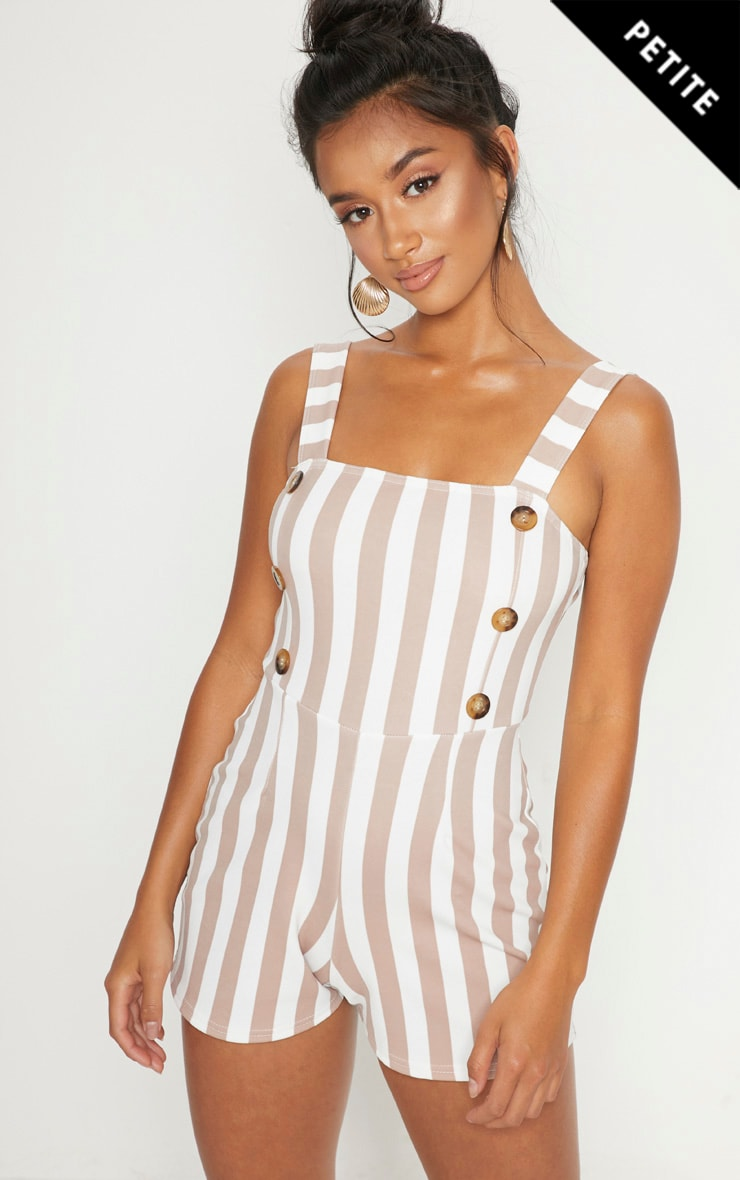 Petite Stone Button Detail Striped Playsuit
