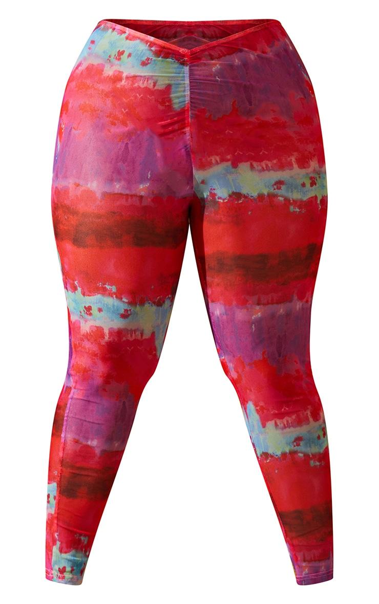Plus Multi Printed Ruched Front Leggings 5