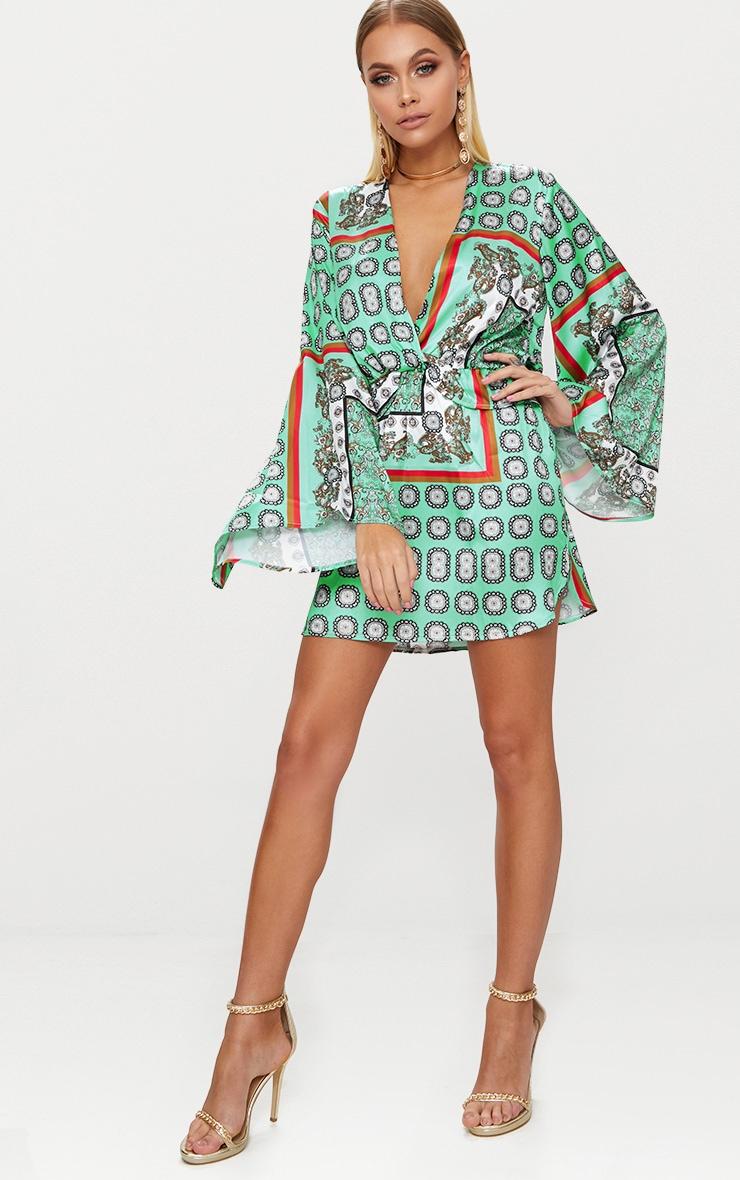 Sage Green Printed Kimono Sleeve Plunge Shift Dress  4