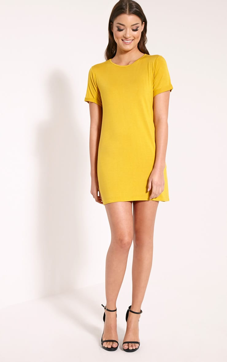Basic Mustard Boyfriend Jersey T Shirt Dress 3