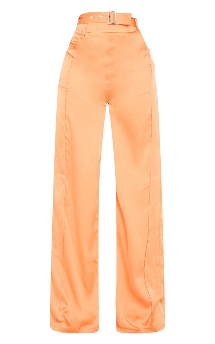 Tall Peach Satin High Waisted Belted Pants 5