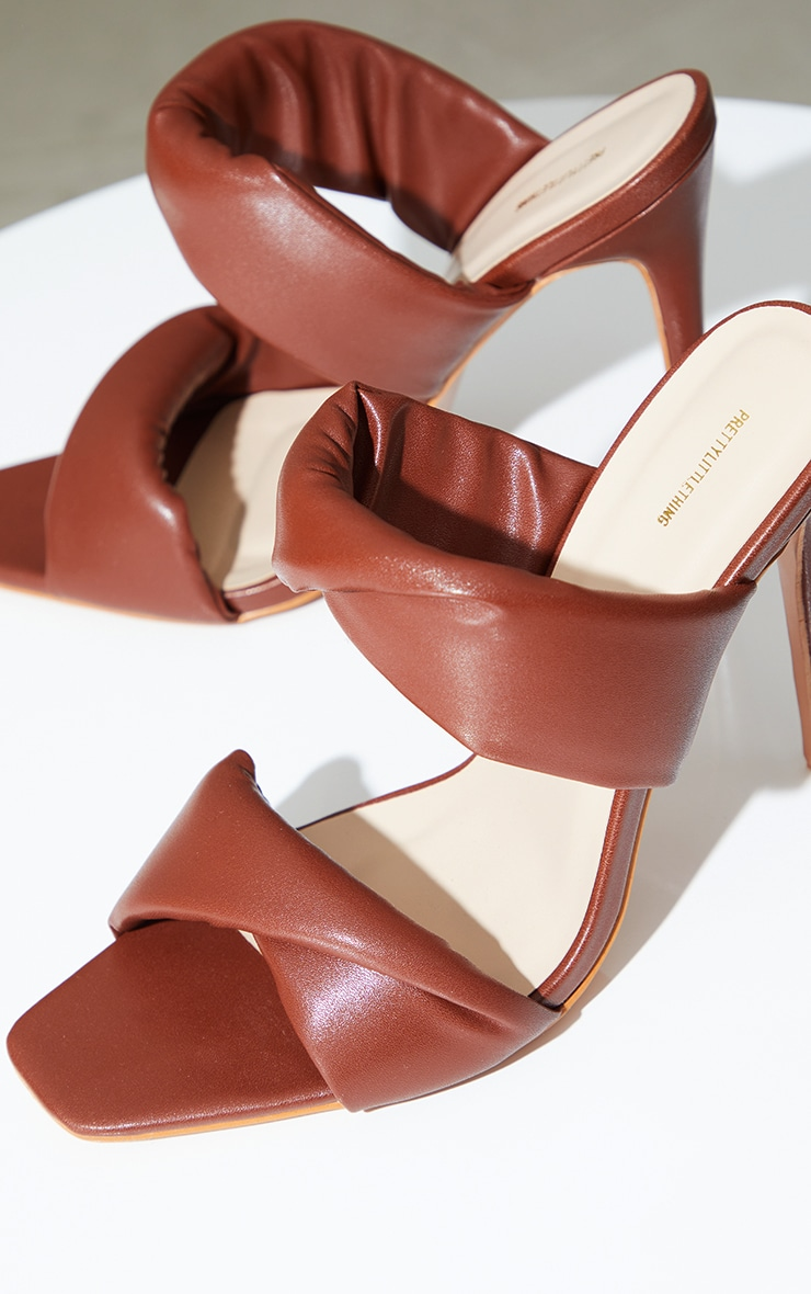 Chocolate Square Toe Padded Twin Strap High Heel Mules 4