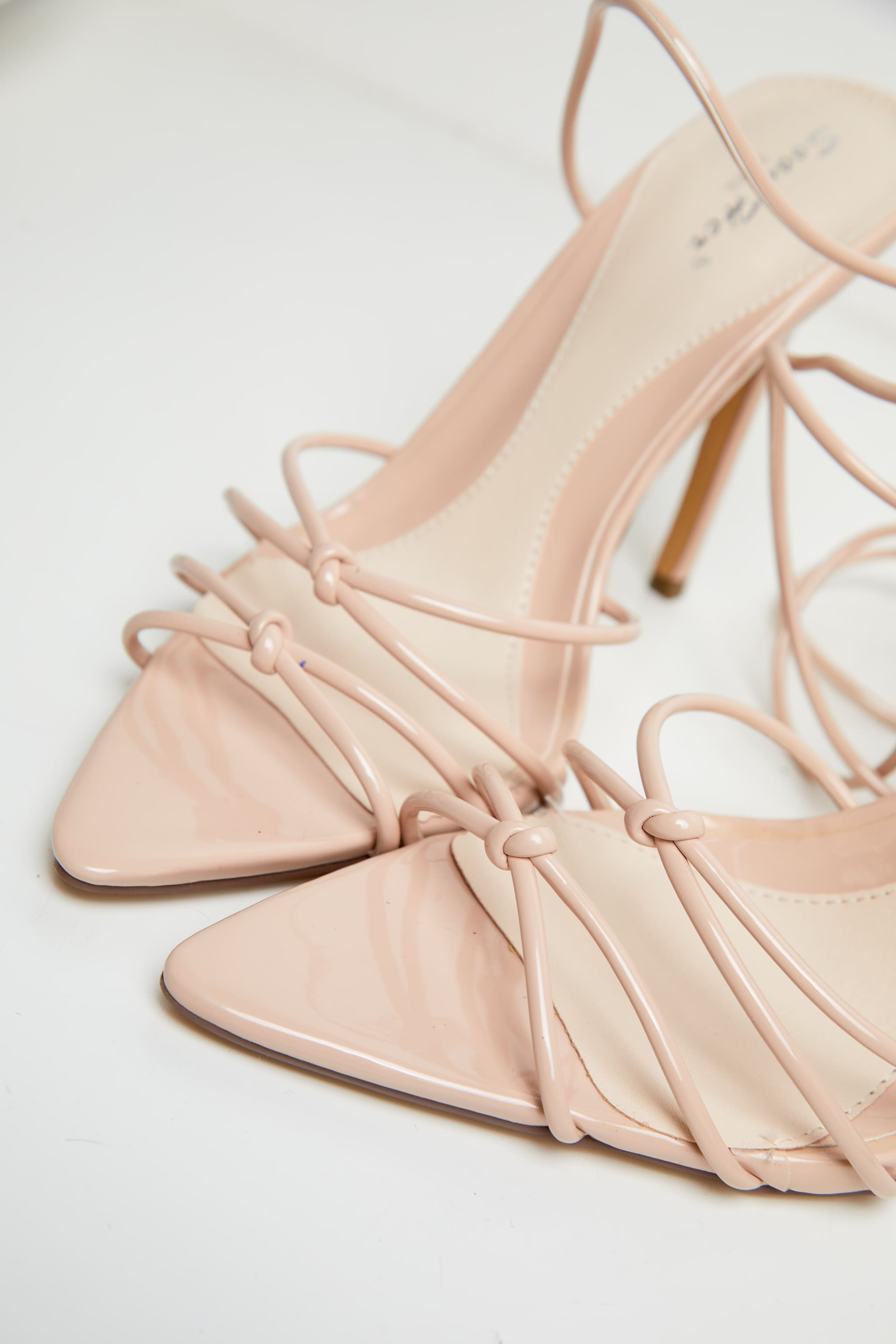 Nude Double Knot Point Toe Lace Up Heel Sandals 3