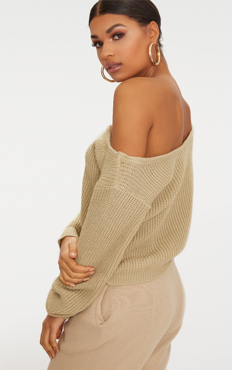 Stone Off The Shoulder Crop Jumper 2