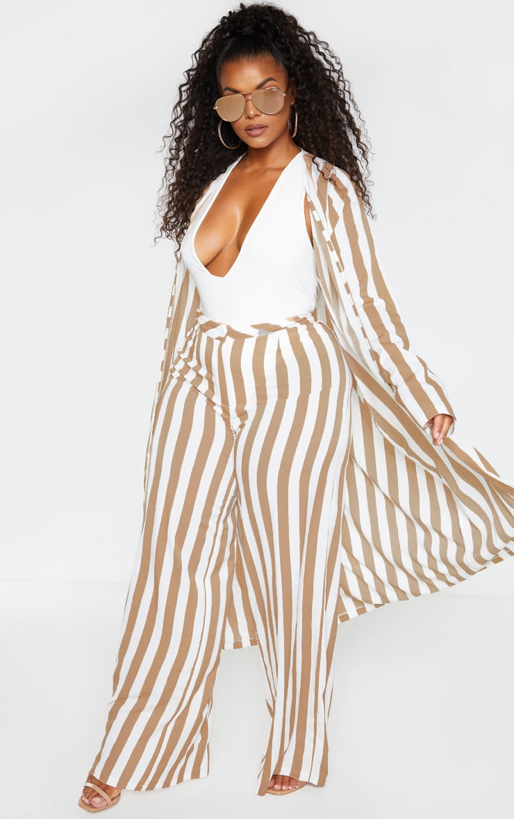 Plus Stone Striped Longline Duster Jacket 4