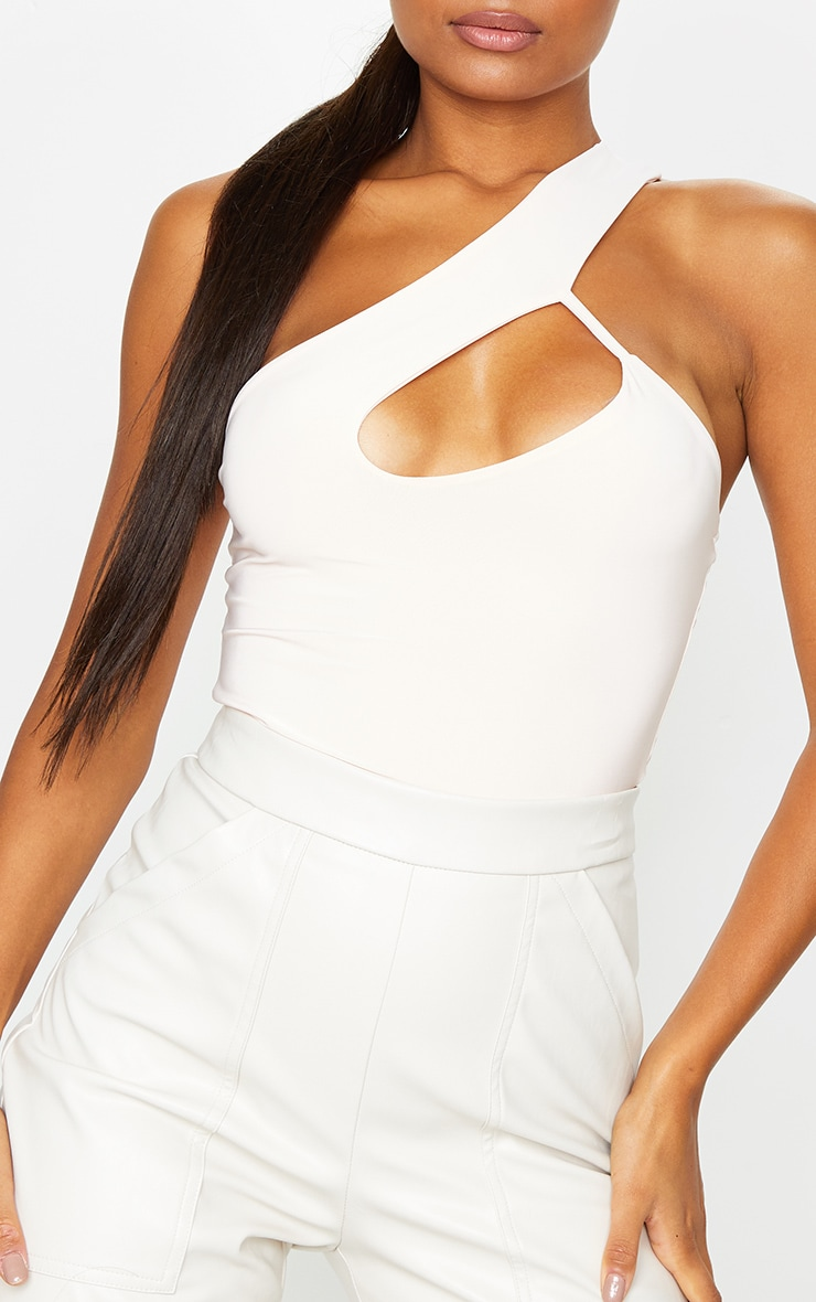Nude Cut Out One Shoulder Bodysuit 4
