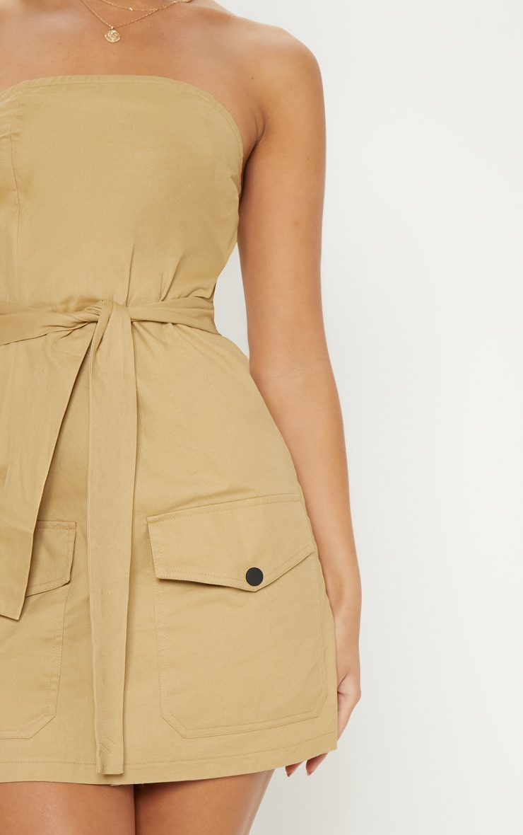 Camel Bandeau Cargo Pocket Detail Bodycon Dress  5