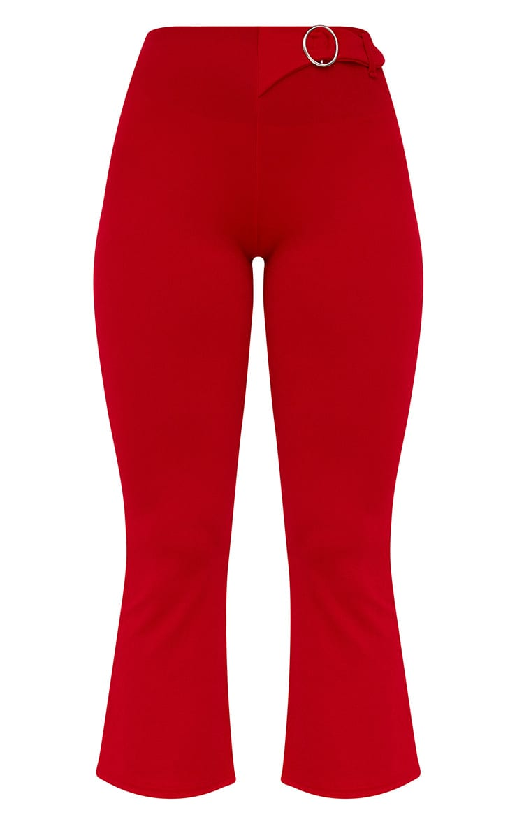 Red Ring Belt Detail Kick Flare Trousers 3