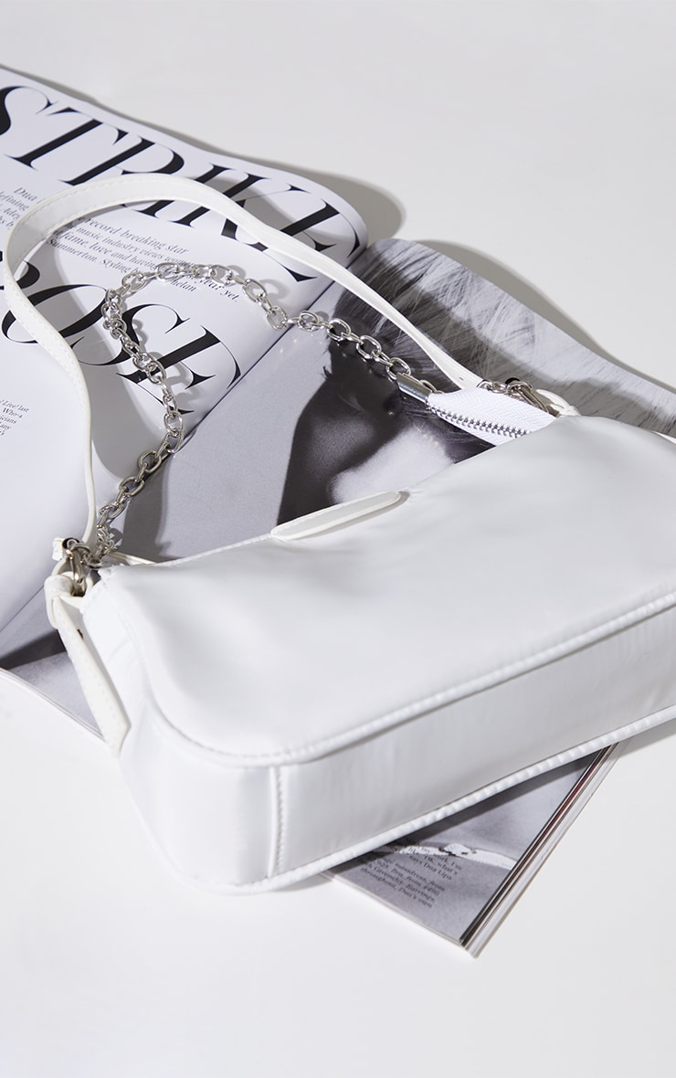 White Nylon Silver Chain Shoulder Bag 4