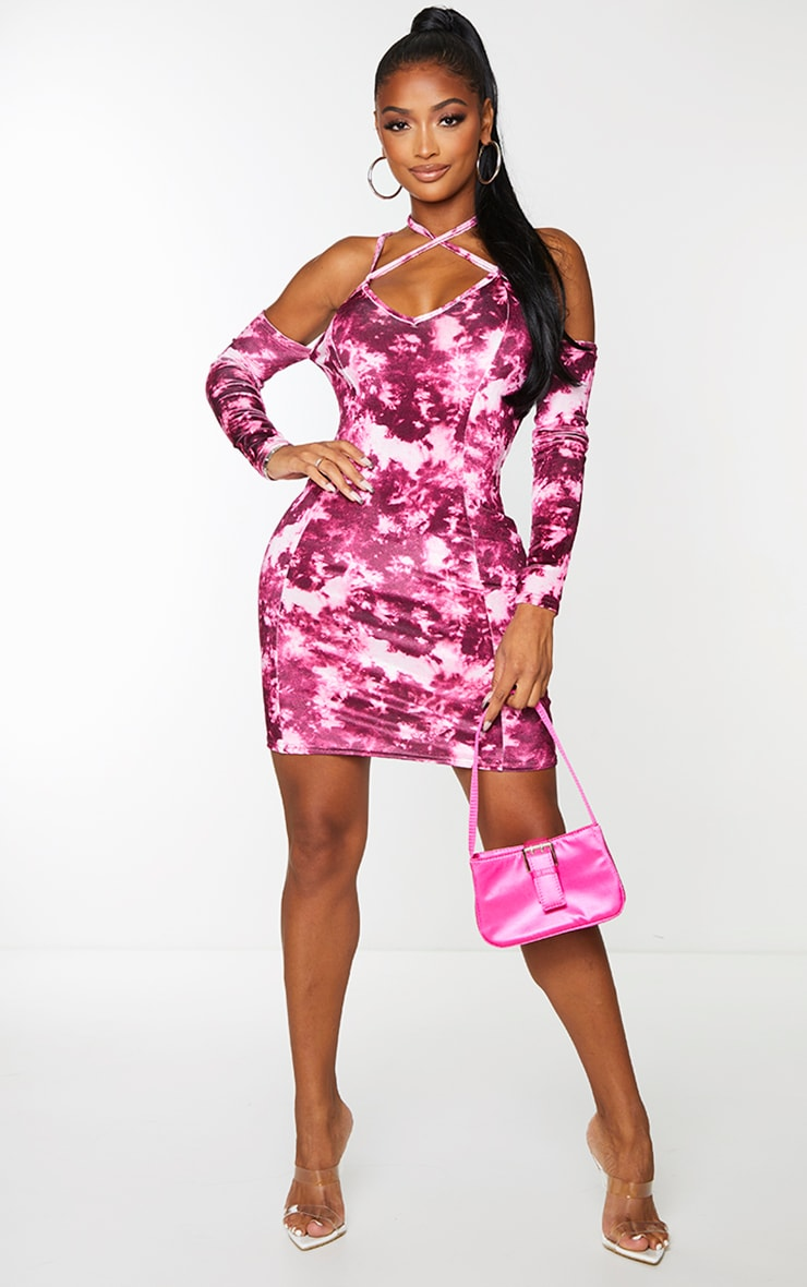 Shape Pink Tie Dye Velvet Halterneck Bodycon Dress 3