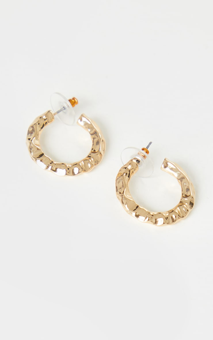 Gold Small Hammered Hoop Earrings 3