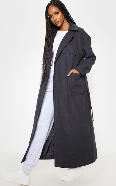 Charcoal Maxi Belted Coat