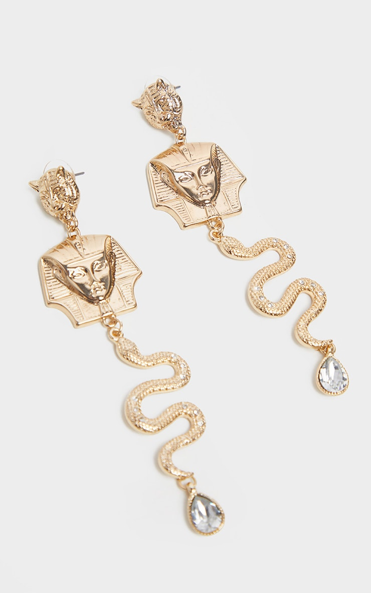 Gold Egyptian Snake And Tiger Diamante Drop Earrings 2