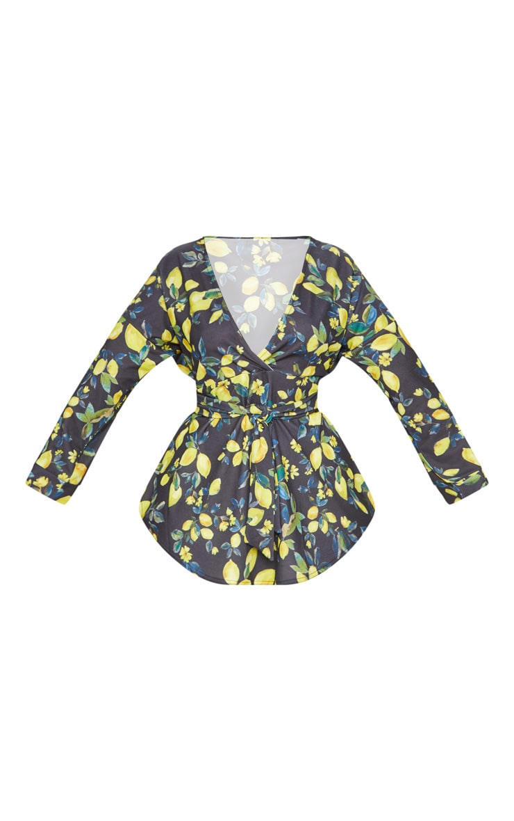 Plus Black Floral Lemon Print Tie Waist Blouse 3