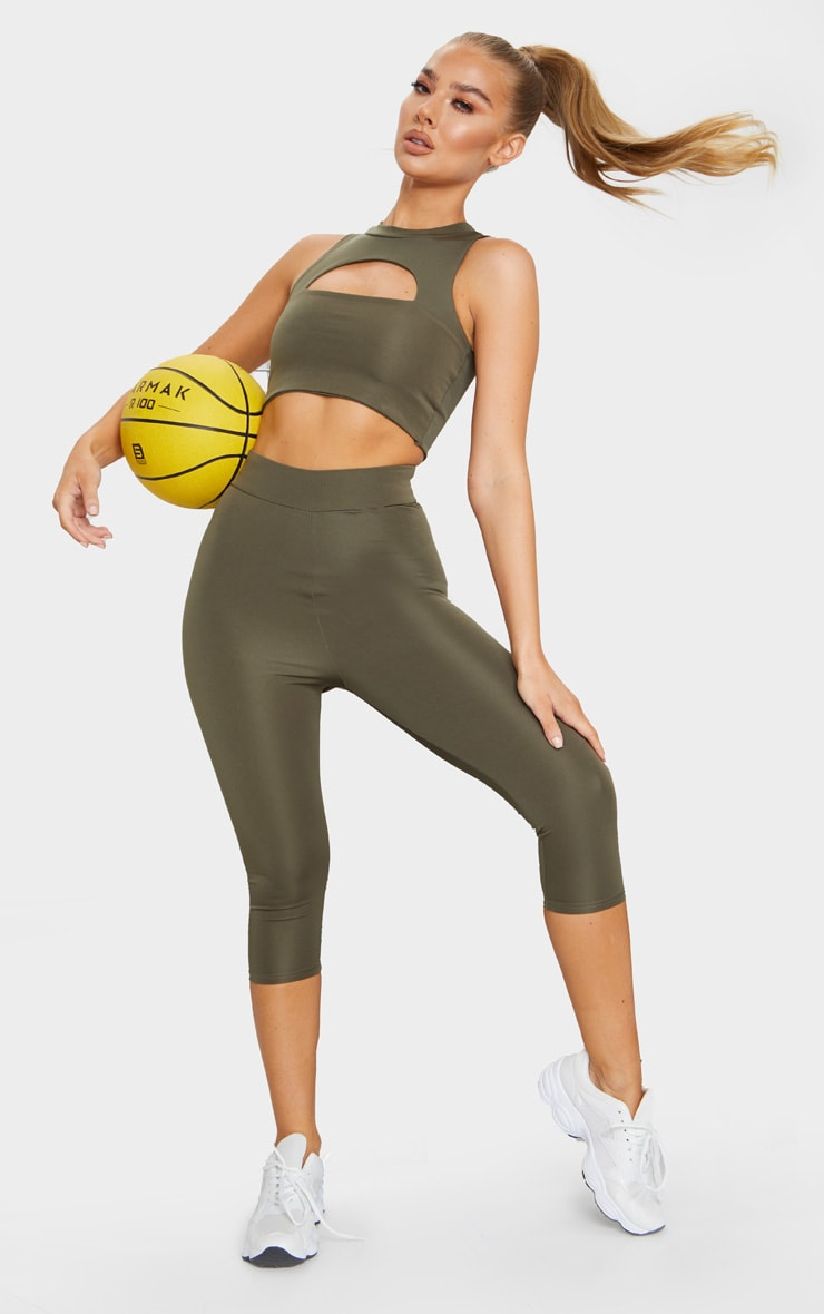 Khaki Basic Cropped Gym Leggings 1