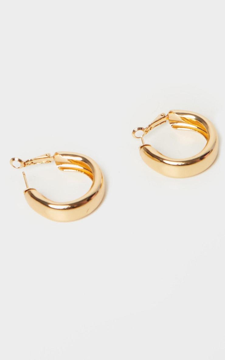 Gold Small Chunky Tubular Hoop Earrings 2