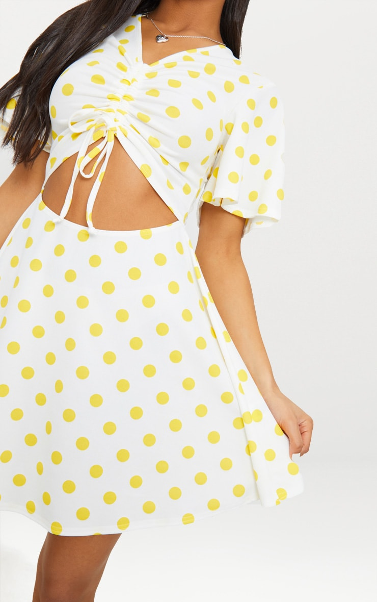 Yellow Polka Dot Cut Out Ruched Detail Swing Dress 5