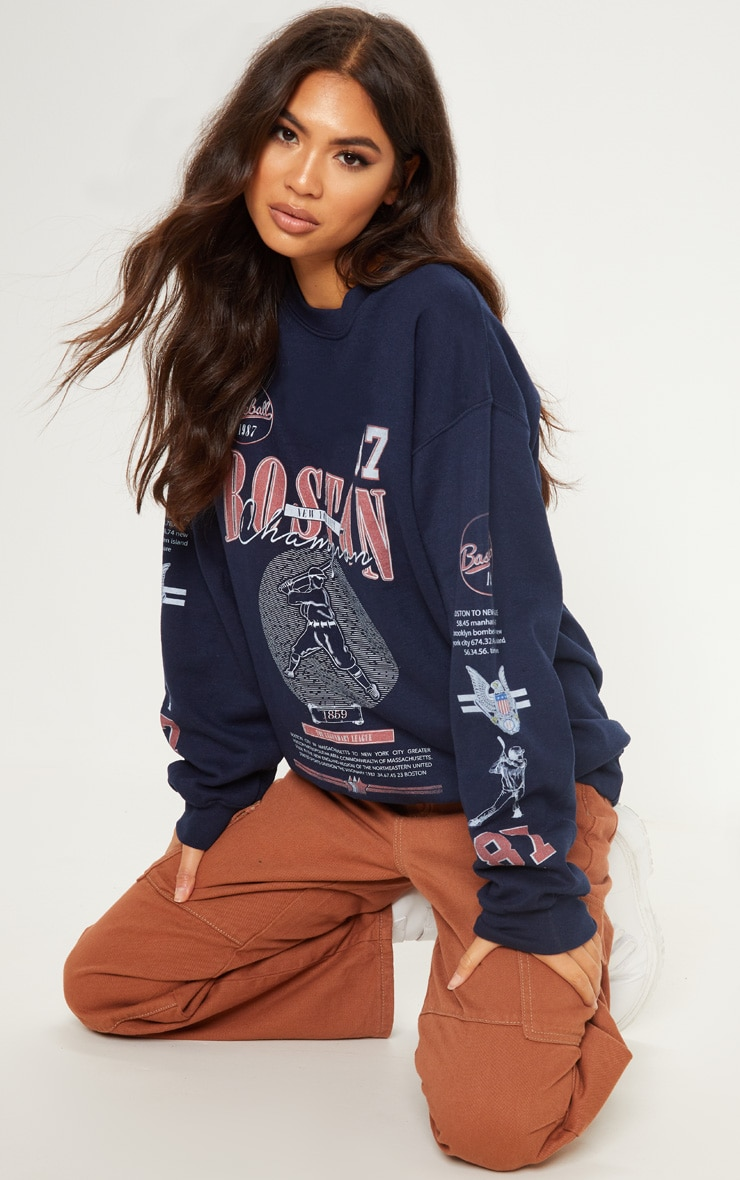 Navy Boston Baseball Printed Oversized Sweater by Prettylittlething