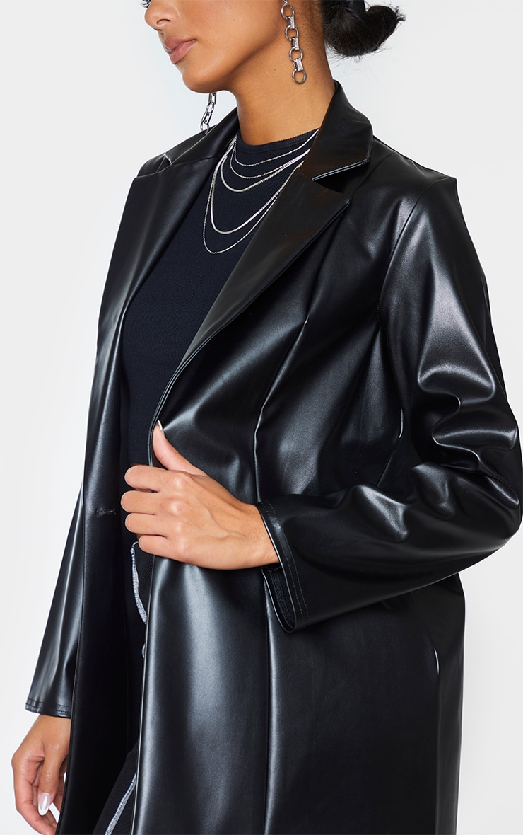 Black Longline Lapel Detail Faux Leather Blazer 4
