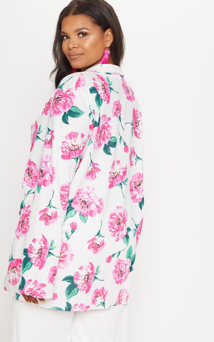 Plus White Floral Oversized Blazer 2