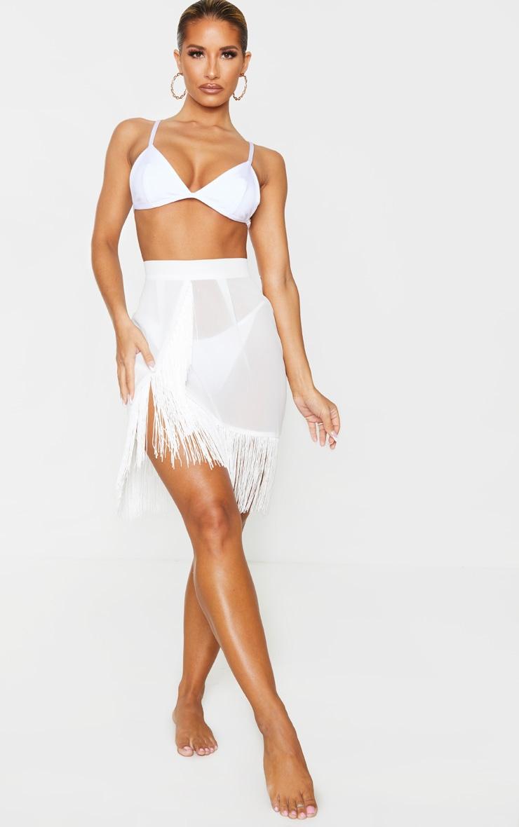 White Tassel Beach Skirt 4